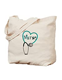 CafePress - Nurse BLUE STETHO - Natural Canvas Tote Bag, Cloth Shopping Bag