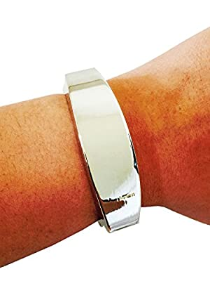 "Fitbit Bracelet for Fitbit Flex Activity Trackers - The TORY 7"" Inch Silver Bangle Fitbit Bracelet"