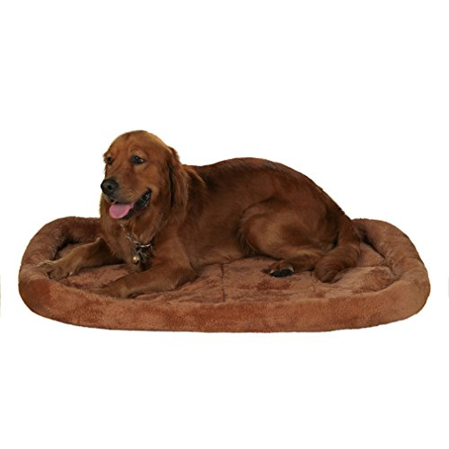 QIAOQI Dog Bed Cushion Deluxe Double Bolster Pet Kennel Pad