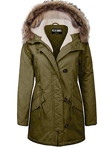 - OLLIE ARNES Women's Quilted or Inner Fur Lined Sherpa Anorak Down Parka Jacket 31_Olive_3XL