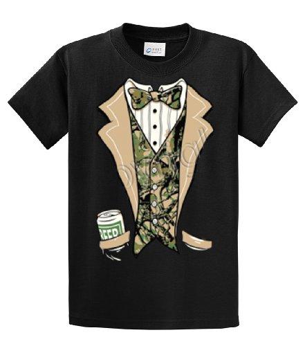 Tuxedo T-Shirt Camo Tuxedo With A Beer-Black-xxl