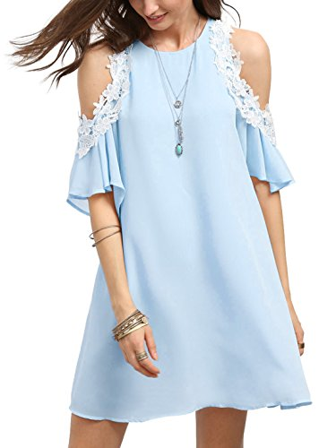 MakeMeChic Women's Cold Shoulder Casual Chiffon Summer Beach Dress Blue L
