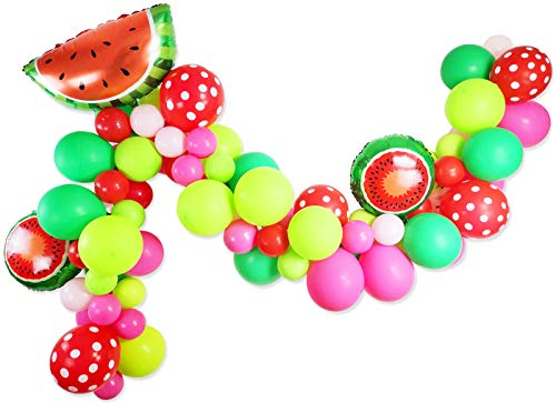 Watermelon Party Supplies - 80 Pack Matte Balloons Polka Dot Balloons Watermelon Foil Balloons Garland & Arch Kit for Watermelon Themed Party Decoration, Baby Shower, Birthday Party Supplies]()