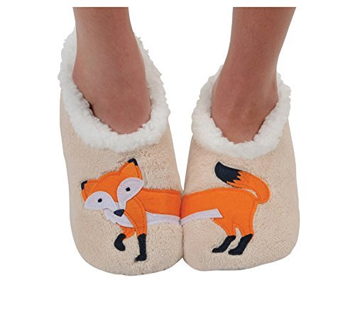 Snoozies Womens Classic Splitz Applique Slipper Socks - Feelin' Foxy, Medium