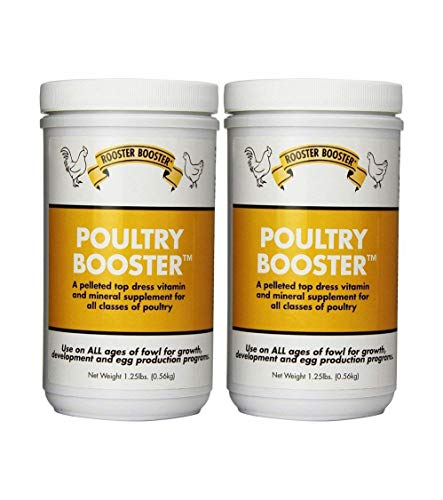 Rooster Booster Poultry Booster Chicken-Vitamins Minerals Essential Amino acids High in Calcium Bone Egg Development 2-1.25 lb Jars Included
