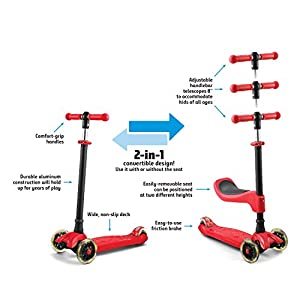 LaScoota 2-in-1 Kick Scooter with Removable Seat great for kids & toddlers Girls or boys – Adjustable Height w/ Extra-wide Deck PU Flashing Wheels . for Children from 2 to 14 Year-Old (Red)