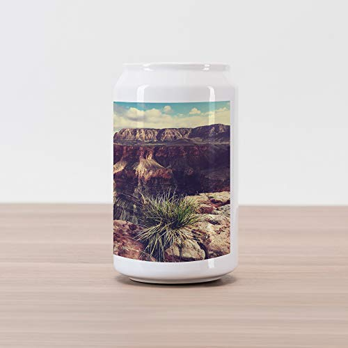 Ambesonne Canyon Cola Can Shape Piggy Bank, Exotic Photo of Canyon Rocks Formed Eroding Habita Feature of Geologic Movement, Ceramic Cola Shaped Coin Box Money Bank for Cash Saving, Grey Brown ()