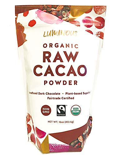 Luminous Foods Organic, Fairtrade, Unsweetened Raw Cacao Powder. (Cold Pressed, Raw Cocoa) (16oz) ()