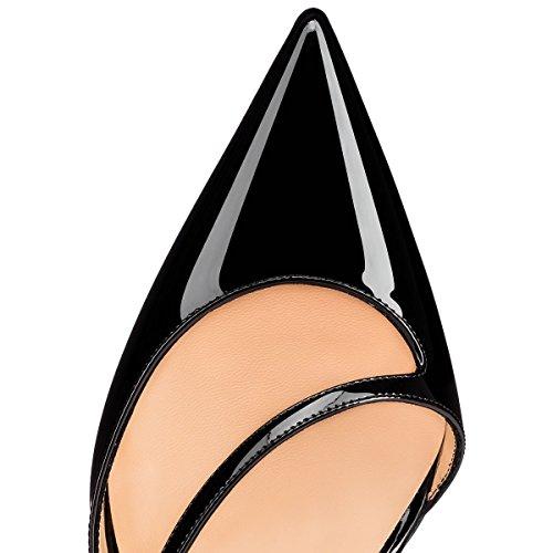Bout Caitlin Noire Aiguilles Escarpins Pompes Talons Femmes on de Boucle 85MM Robe Pointu Semelle Slip Rouge Pan 6wnw8txrqA
