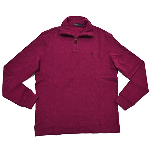 n's French Rib Half-Zip Pullover, New Cranberry Heather, Small ()