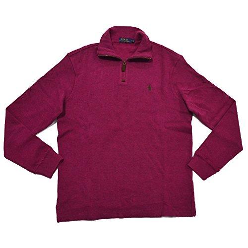 Polo Ralph Lauren Mens French Rib Quarter Zip Mock Neck Sweater (S, Heather Fushia)
