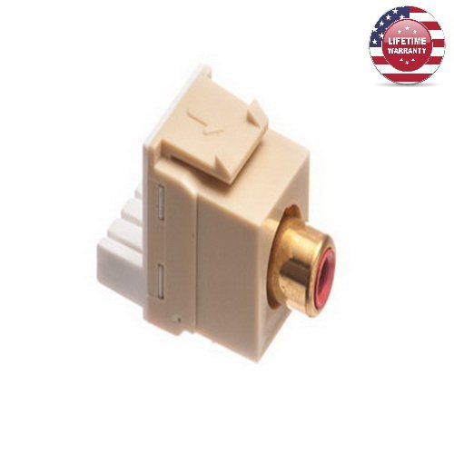 5 Pack X ICC Gold RCA IDC Punchdown Keystone Jack - Red Insert- Ivory - By Nexiron