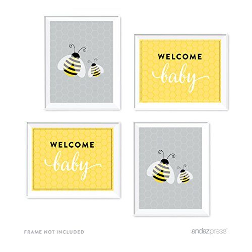 Price comparison product image Andaz Press Mama to Bee Bumblebee Gender Neutral Baby Shower Collection,  Party Signs,  Graphic Decorations,  8.5x11-inch,  4-Pack