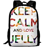 ZQBAAD Keep Calm and Love Jelly Luxury Print Men and Women's Travel Knapsack