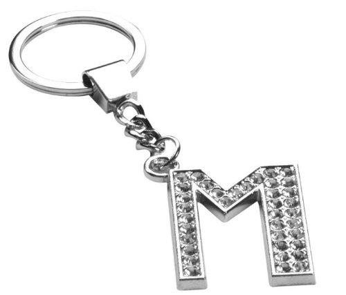Crystal Letter M Rhinestone Diamante Keychain