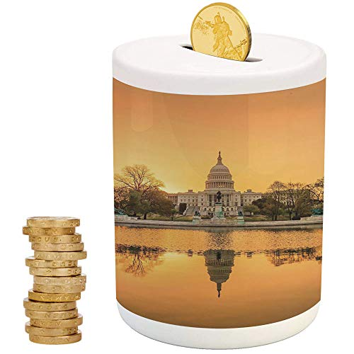 iPrint United States,Money Bank for Kids,for Party Decor Girls Kid's Children Adults Birthday Gifts,Washington DC American Capital City White House Above The Lake Landscape