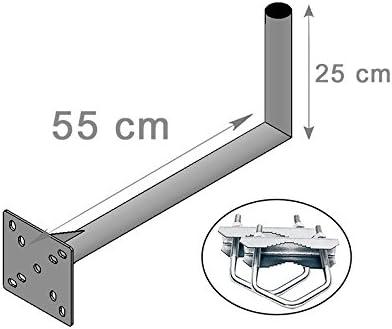 Brazo de fijación para balcón y pared para antena parabólica (25 x 55 x 55 cm), soporte modular multiposición, fijación horizontal/vertical