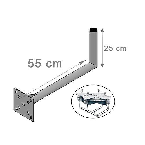 HD-LINE Geländerhalterung 25cm x 55cm Wand & Balkon Montage mit Schelle (horizontal oder vertikal) Halter - Mastroh Sat Antennenmast Balkon Balkonhalterung Satellitenschüssel