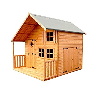 Shire Crib Two Storey Playhouse with Garage Brown