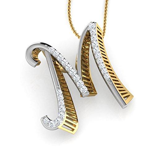 14K Or blanc 0.11CT TW Round-cut-diamond (IJ | SI) Pendentif