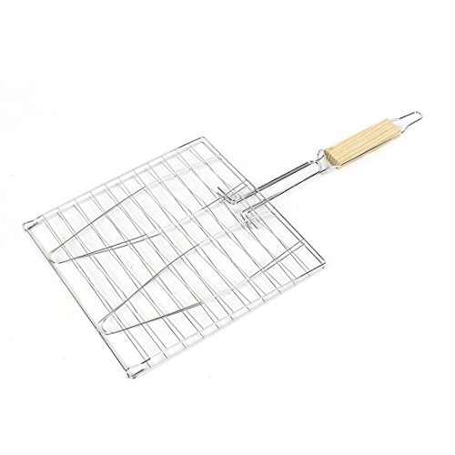 uxcell Picnic BBQ Wooden Handle Stailess Steel Fish Stock Grilling Basket by uxcell