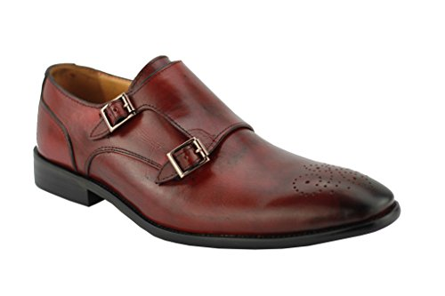 Chaussures bateau décontractées pour homme - Cuir véritable brun-rouge, avec double sangle