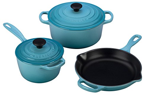 Le Creuset 5 Piece Signature Enameled Cast Iron Cookware Set, Caribbean For Sale