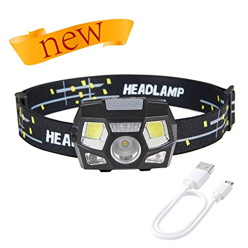 Vimoon Headlamp Flashlight, COB Enhanced Headlamp, 500 Lumens Ultra Bright Cree LED Rechargeable Headlamp with Red Light and Motion Sensor, Waterproof Headlamp for Camping, Hiking, Running