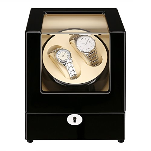 CRITIRON Luxury Automatic Watch Winder with 2 Leather Storage (Wood Shell + Leather Pillow + Piano Paint + Tempered Glass) (White)