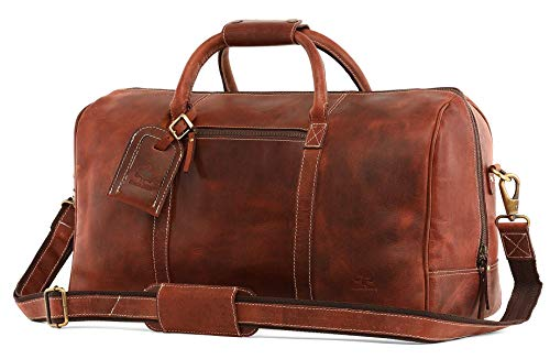 Leather Carry On Bag - Airplane Underseat Travel Duffel Bags by Rustic Town