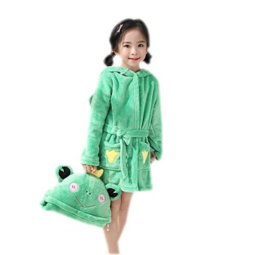 (Boys & Girls Bathrobes, Plush Soft Coral Fleece Animals Hooded Sleepwear for Kids (Frog, 14))