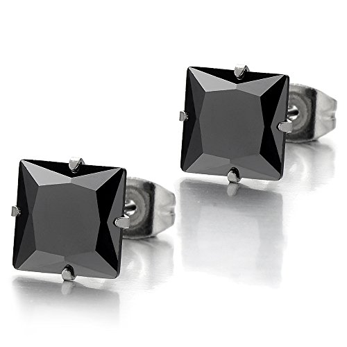 6mm Black Square Cubic Zirconia Princess Cut Stud Earrings for Men Women Stainless Steel, 2pcs