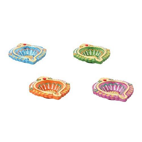 Set of 4 Diyas Handmade Decorative Diwali Clay Earthen Multicolor Terracotta Decorative Oil Lamps With Rhinestone Diwali Gifts