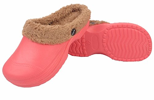 Womens Ladies Winter Warm Fur Lined Clogs Casual Garden Kitchen Work Mules Shoes Water Melon mP42gBI