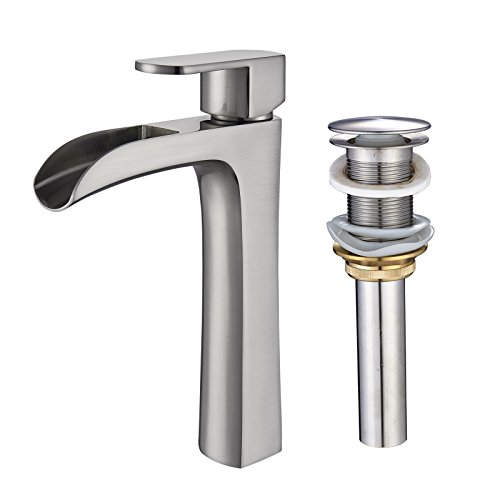 (Senlesen Brushed Nickel Waterfall Spout Single Handle Lever Tall Body Bathroom Vessel Sink Mixe Tap Faucet and Pop Up Drain without Overflow)