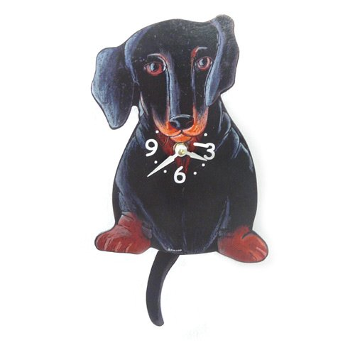 Swinging-Tail Pendulum Dog Clock - Dachshund by Pink ()