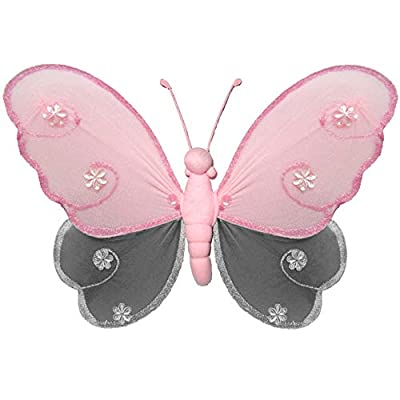 "Bugs-n-Blooms Nylon Butterfly Large 13"" Pink Gray Grey Hailey Hanging Mesh Butterflies Decorations - Butterfly Decor for Girls Bedroom, Baby Nursery, Home, Playroom, Wedding, Wall & Ceiling: Home & Kitchen"