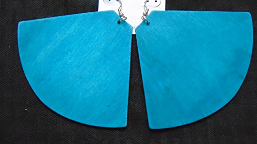 Gye Nyame Ring (New Color Stained Fan Wood Dangle Lightweight Earrings Blue)