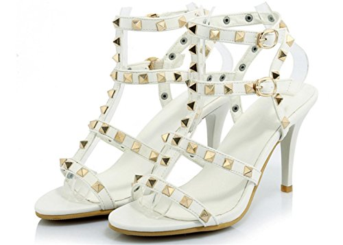 Sandals Buckle Heel Fashion Women 35 with White Sandals Lh Quality Rivet Party High Shoes High Fine yu Banquet pzRPE