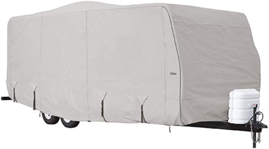 Tan and Gray Goldline Travel Trailer RV Covers by Eevelle Waterproof Fabric