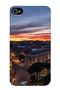 022fb26389 Recalling Rome The Vatican The City Night Sunset Panorama Houses Buildings Reflection Durable Iphone 4/4s PC Flexible Soft Case With Design