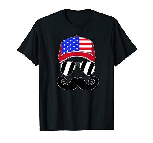 Merica American Flag Trucker Hat Mustache July 4th T Shirt]()