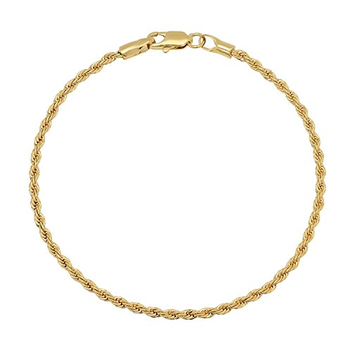 2.4mm Braided Rope Link Rounded Chain Bracelet, 8