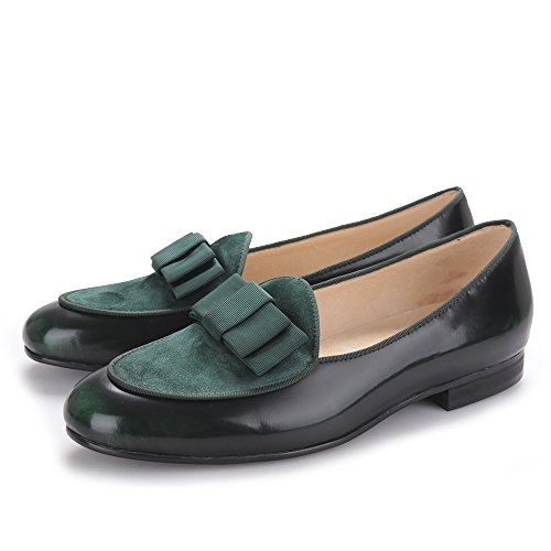 Green amp;HANN and on with Velvet Leather Loafer Flats HI Stitching Bowtie Men's Smoking Shoes Nubuck Slipper Slip awfgSq