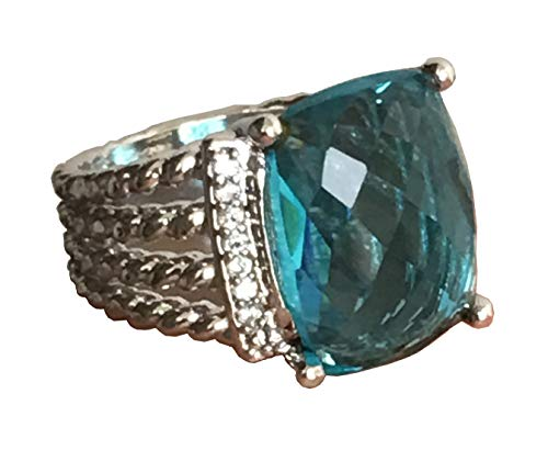 GEMPARA Designer Inspired Twisted Cable 16x12mm Blue Topaz Cushion Ring Size 7, 9 (7)