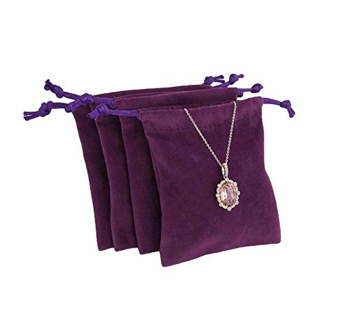 Svea Display 20-Pack Premium Grade Purple Velvet Jewelry Gift Bags Ideal for Wedding Party Store Sale Presents Packaging - Ab Package Premium