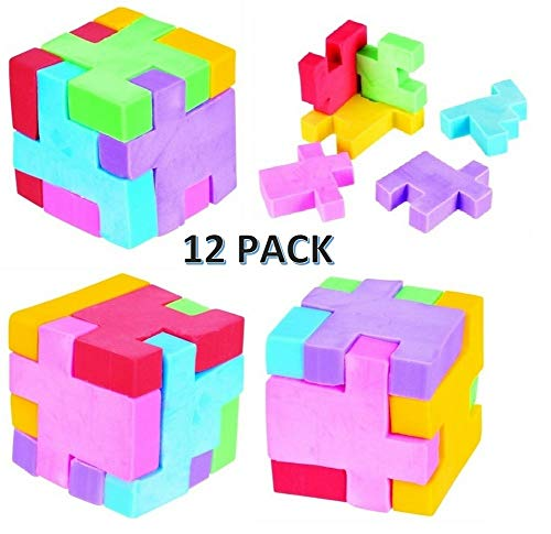 CUZAIL Party Favors - Puzzle Cube Eraser - Party Supplies School Eraser - 12 Cubes Brain Teaser Puzzle Fun - Assorted Colors ()