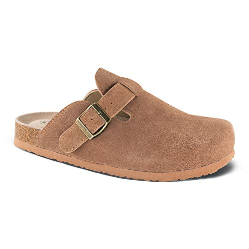 ootbed Clog,Suede Leather Clogs, Cork Clogs Shoes for Women Men,Antislip Sole Slippers Mules Tan ()