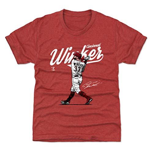 500 LEVEL Jesse Winker Cincinnati Baseball Youth Shirt (Kids Small (6-7Y), Tri Red) - Jesse Winker Score W - Shirt Classic Cincinnati Reds