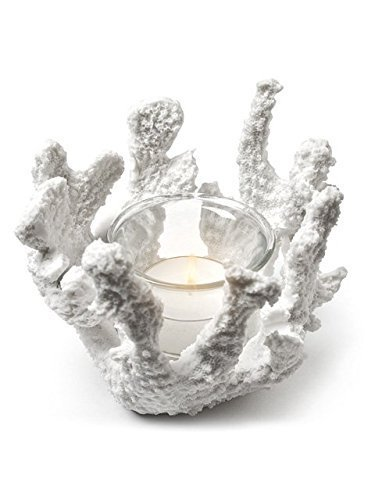 Christmas Tablescape Decor - White coral 5-inch tealight candle holder from the Abbott Collection